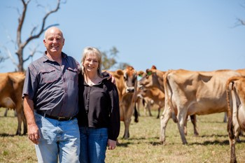 Trevor Saunders and Anthea Day, dairy farmers at Shady Creek, Gippsland